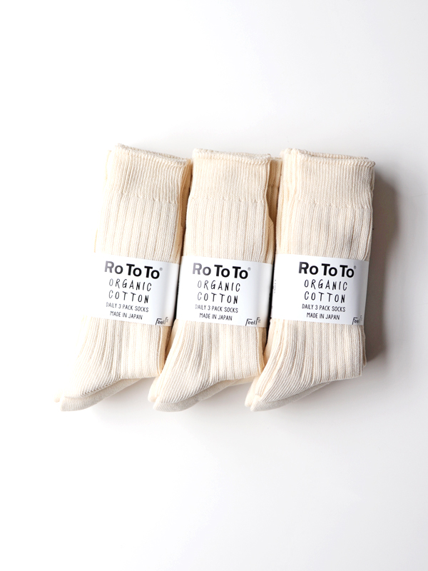 RoToTo  Organic Cotton Daily 3 Pack Socks