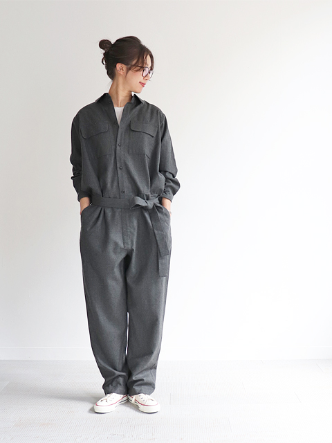 unfil (アンフィル) wool-flannel jumpsuits