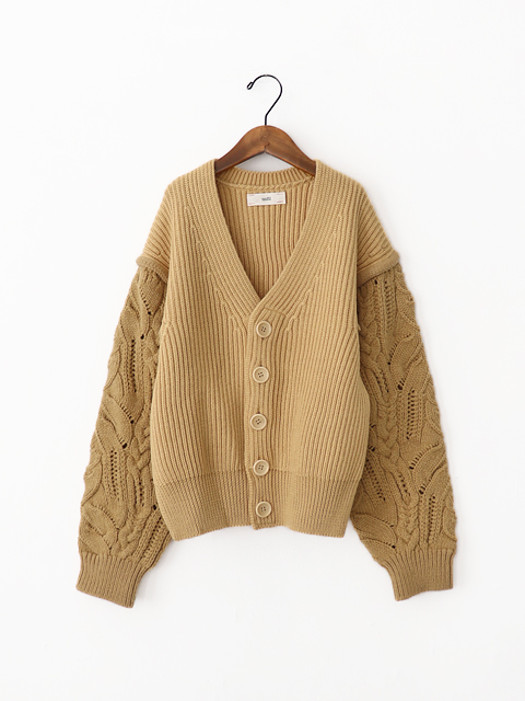 unfil (アンフィル) french merino cable-knit cardigan