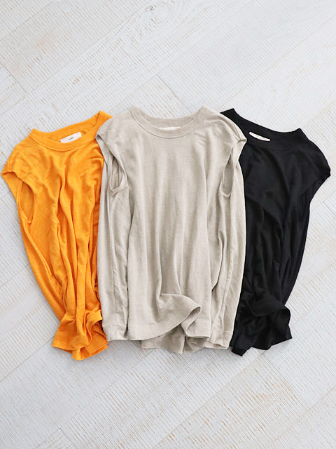 unfil (アンフィル) french linen jersey sleeveless A-line top