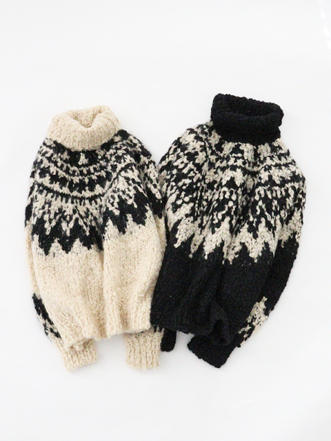 unfil (アンフィル) cashmere blend hand-knit sweater