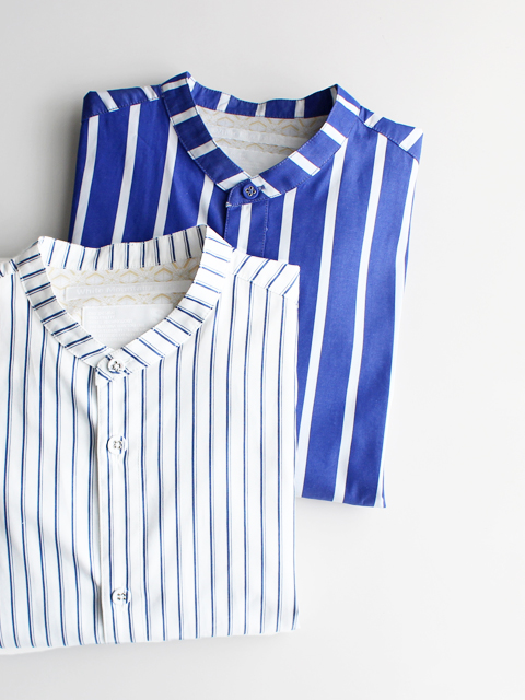White Mountaineering (ホワイトマウンテニアリング) BROAD STRAIPE STAND COLLAR SHIRT