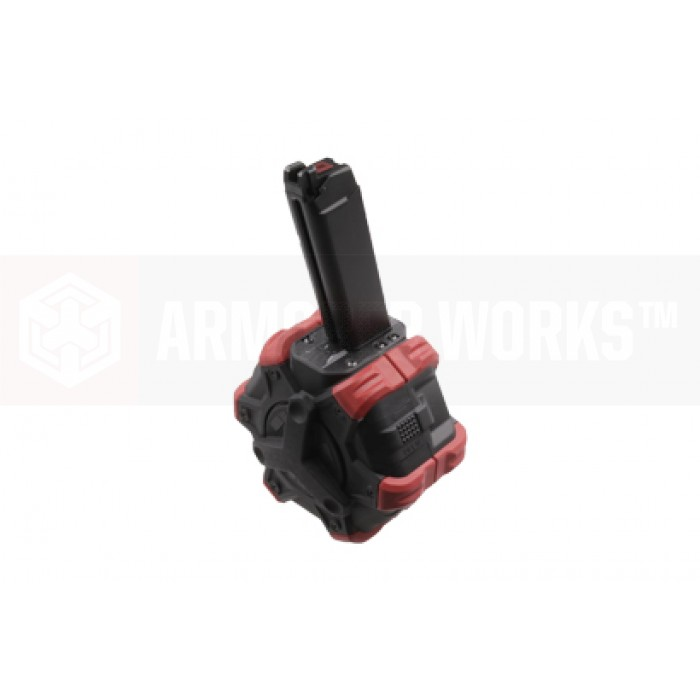AW CUSTOM VX/GLOCKシリーズ用 350連Adaptiveドラムマガジン/STD (AW/VX/WE/ Marui互換) Black/Red