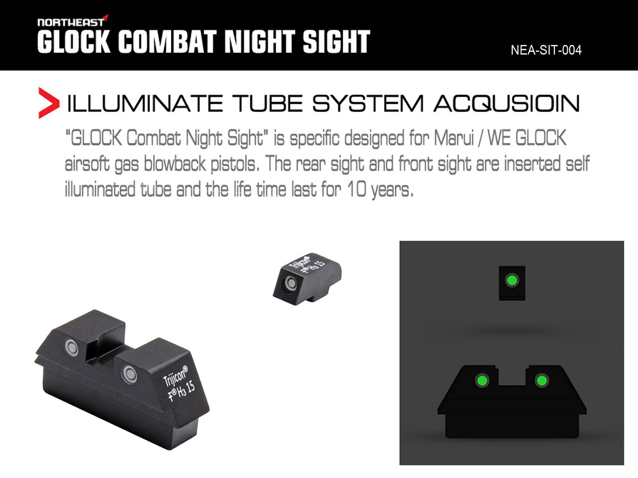 NorthEast Glock Combat NightSights/トリチウムナイトサイト (マルイ/WE Glock用)