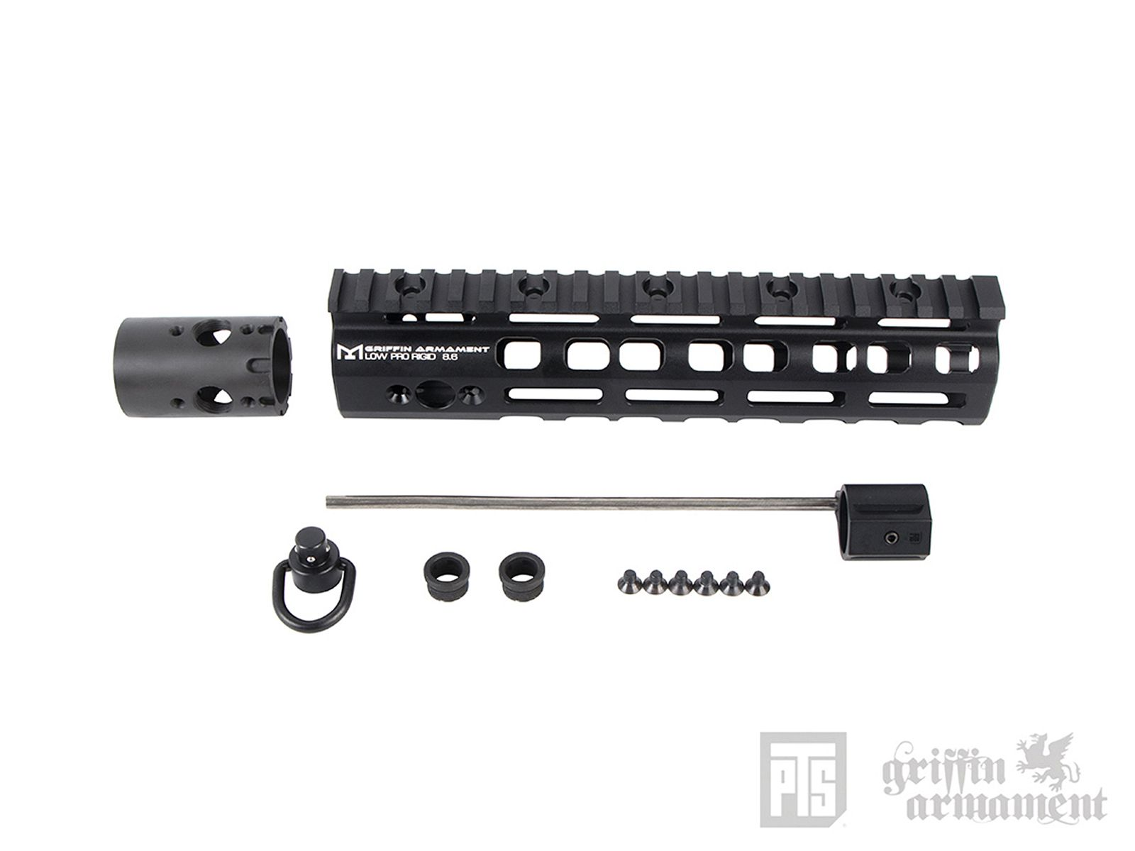 PTS Griffin Armament LowPro RIGID M-LOK レイルハンドガード/8.6in (BK)