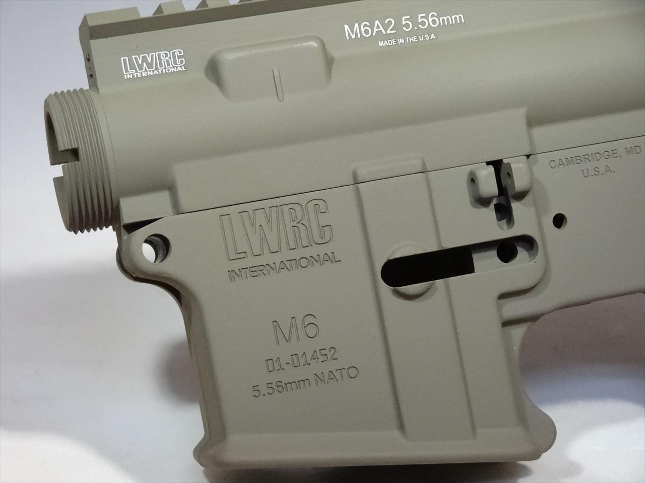 【オリジナル】 マーキング+セラコート RA-TECH 鍛造アルミレシーバーセット WE M4 GBB用(LWRC M6 TAN)