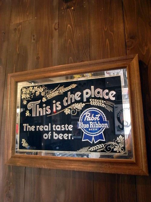 Vintage Pabst Blue Ribbon Beer Bar Mirror パブス ブルーリボン バーミラー