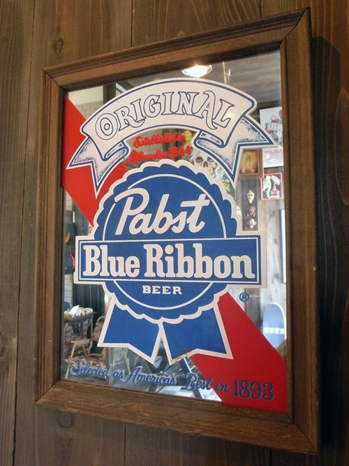 Vintage Pabst Blue Ribbon Beer Bar Mirror パブス ブルーリボン バーミラー