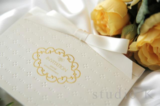 結婚式招待状簡単手作りキットプリエ(パール)