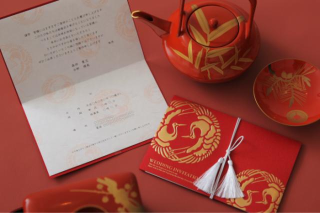 結婚式招待状簡単手作りキット 双縁(くれない)