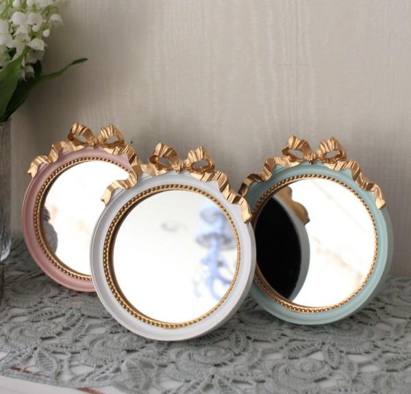 プティリボンミラー(3色あり)壁掛け・卓上両用 ウォールミラー  可愛い 小さい アンティーク風 シャビーシック フレンチカン