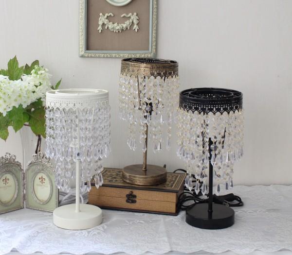 ビーズシェードの卓上ランプ(オフホワイト・ブロンズ・ブラック)テーブルランプ LED対応 おしゃれ 可愛い アンティーク風