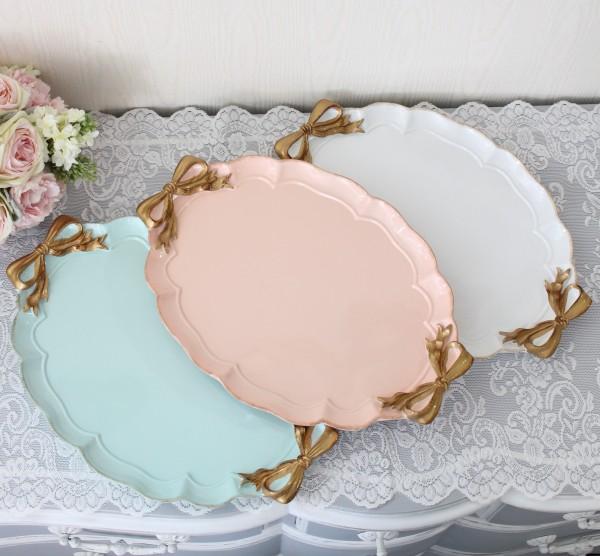 リボントレー(3色あり)トレー ディスプレイ  可愛い アンティーク風 シャビーシック フレンチカントリー テーブルクロック リ