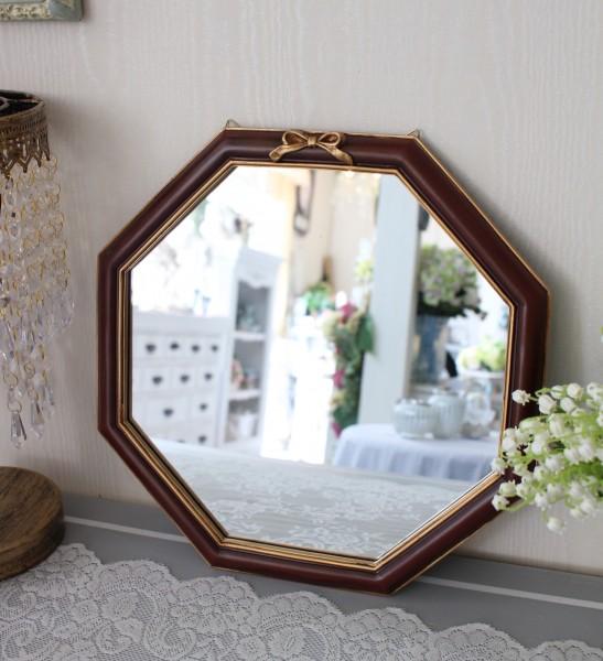 フレンチリボンのウォールミラー(ブラウン)八角形 鏡 壁掛け 可愛い アンティーク風 シャビーシック フレンチカントリー テー