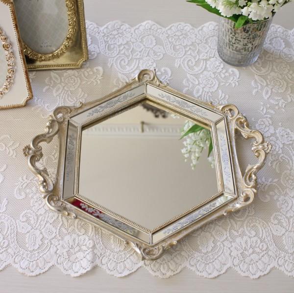 ミラートレー(六角シルバー)ディスプレイトレイ  鏡トレー 可愛い アンティーク風 シャビーシック フレンチカントリー アンテ