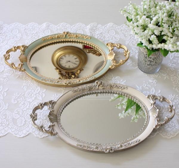 ロココミラートレー(ホワイト・グリーン)ディスプレイトレイ  鏡トレー ロココ調 姫系 可愛い アンティーク風 シャビーシック