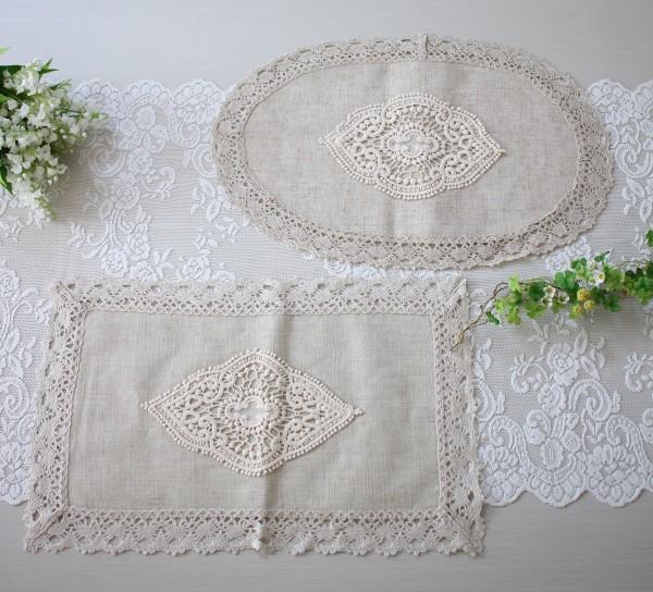 シャビーシック ドイリー ベージュ(オーバル・レクト) テーブルセンター テーブルランナー 布製 刺繍 アンティーク風 ア