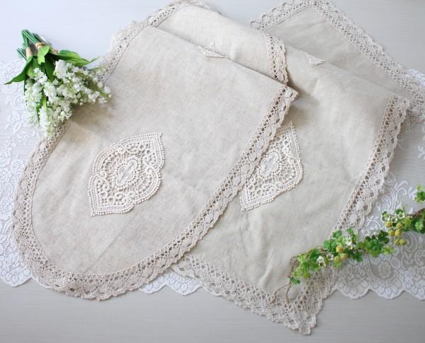 シャビーシック テーブルセンター ベージュ(オーバル・レクト) ドイリー テーブルランナー 布製 刺繍 アンティーク風 ア