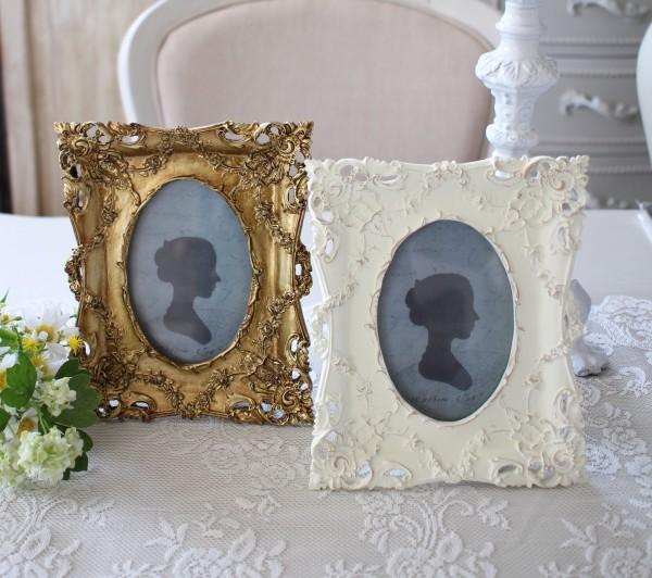 アラベスクフォトフレーム ホワイト ゴールド 写真立て 可愛い アンティーク風 アンティーク調 姫系 シャビーシック フレンチシ
