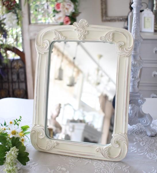 アンティークなスクエアミラー ホワイト 四角 壁掛け 卓上 スタンドミラー 可愛い アンティーク風 アンティーク調 姫系 シャビー
