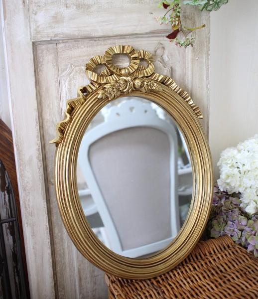 ロココ調 リボンミラー ゴールド 楕円 壁掛け 可愛い アンティーク風 アンティーク調 姫系 シャビーシック フレンチシャビー フ
