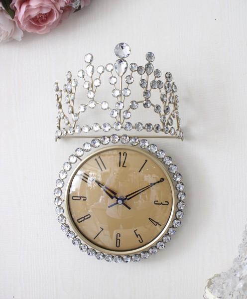 可愛い 掛け時計 ティアラクロック  クォーツ 壁掛け アンティーク風 シャビーシック フレンチシャビー 姫系 テーブルクロック