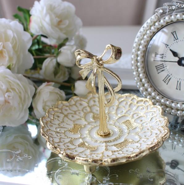 ゴールドリボン ミニトレー リングホルダー アクセサリートレー リングトレー ピアス 指輪 トレイ 可愛い アンティーク風 アンテ