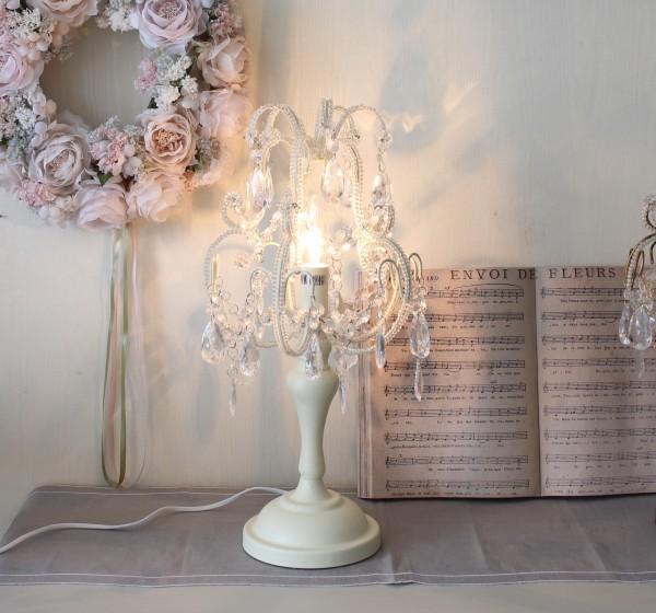 テーブルランプ シャンデリア型 ホワイト テーブルランプ LED対応 おしゃれ 可愛い アンティーク風 シャビーシック フレンチカン