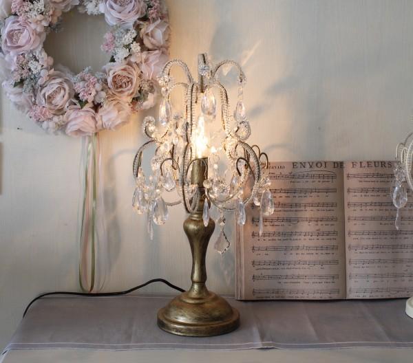 テーブルランプ シャンデリア型 ゴールド テーブルランプ LED対応 おしゃれ 可愛い アンティーク風 シャビーシック フレンチカン