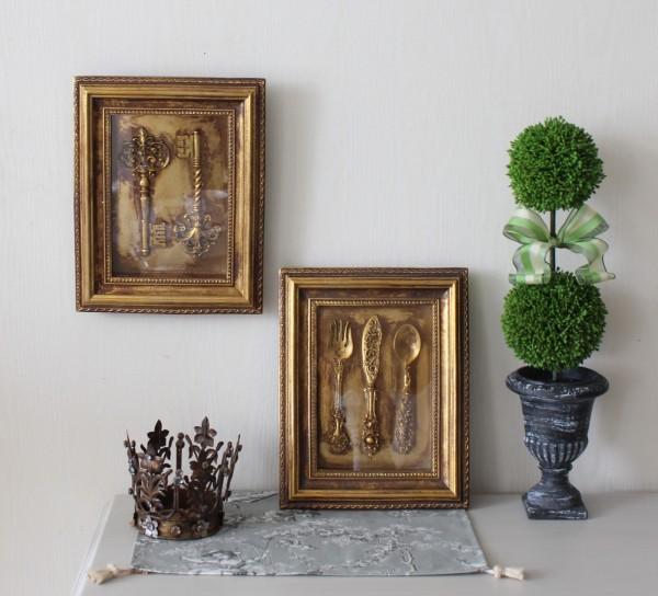 アンティークな壁飾り  ウォールデコ キー カトラリー ゴールド 額 壁掛け 可愛い 壁飾り アンティーク風 シャビーシック フレン