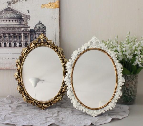アンティークなヨーロピアンミラー (ユリの紋章 オーバル)  スタンドミラー 壁掛け 両用 鏡 ドレッサー ゴールド ホワイト ロコ