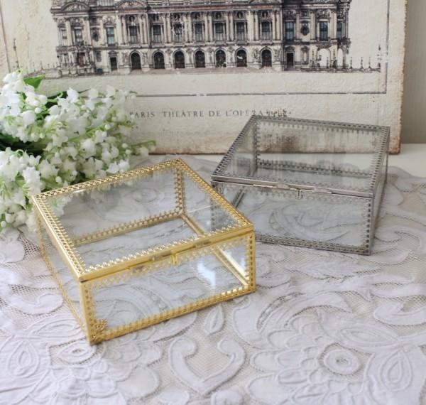アンティーク 雑貨 (ジュエリーボックス 1372 ゴールド シルバー)トレー アクセサリー 小物入れ ガラス おしゃれ アンティーク