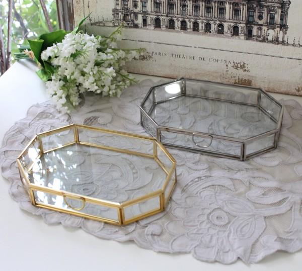 アンティーク 雑貨 (ジュエリーボックス八角 1044 ゴールド シルバー)トレー アクセサリー 小物入れ ガラス おしゃれ アンティ