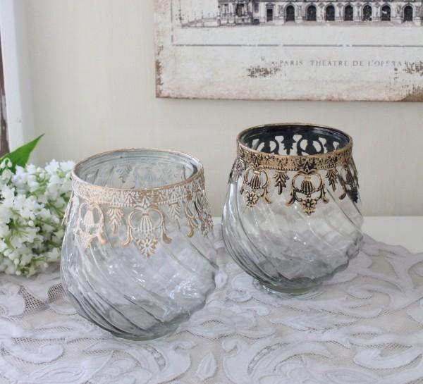 シャビーシック ガラス&アイアン花器 (ショート70148 ホワイト ゴールド) ガラス製 フラワーベース ヨーロピアンコンポート