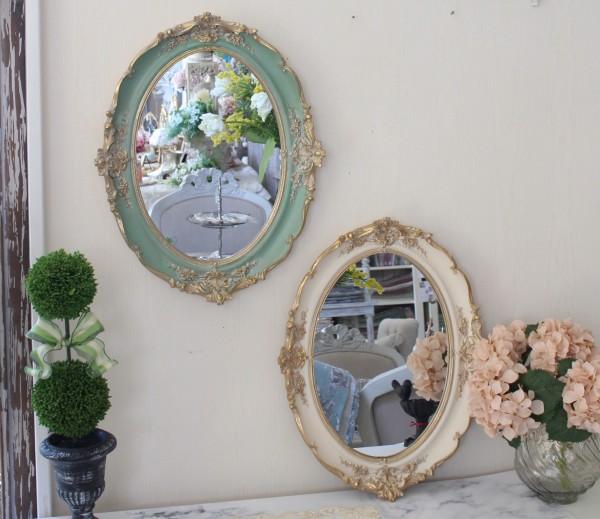 ロココスタイル 壁掛けミラー トレー(ホワイト・グリーン)ディスプレイトレー 鏡 ロココ調 姫系 可愛い アンティーク風 シャビ