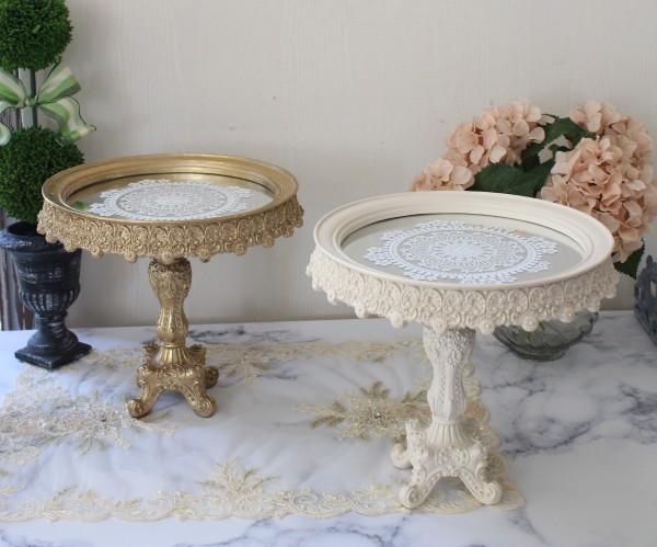 ロココスタイル ミラースタンドトレー(ホワイト・ゴールド)ディスプレイトレー 鏡 ロココ調 姫系 可愛い アンティーク風 シャ