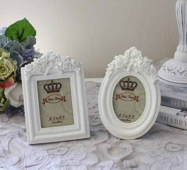 プチ フォトフレーム(ホワイト リボンモチーフ)写真立て 壁掛け ロココ調 姫系 可愛い アンティーク風 シャビーシック フレン
