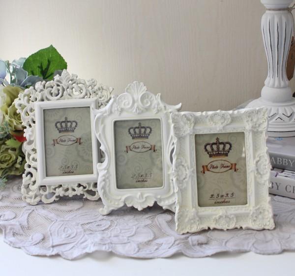 プチ フォトフレーム(ホワイト レクト3種あり)写真立て 壁掛け ロココ調 姫系 可愛い アンティーク風 シャビーシック フレンチ