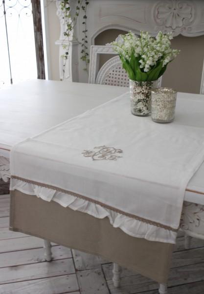 フランスから届くフレンチリネン(ホワイト×ベージュストレート) 【Blanc de Paris】 テーブルセンター モノグラム刺繍 シ