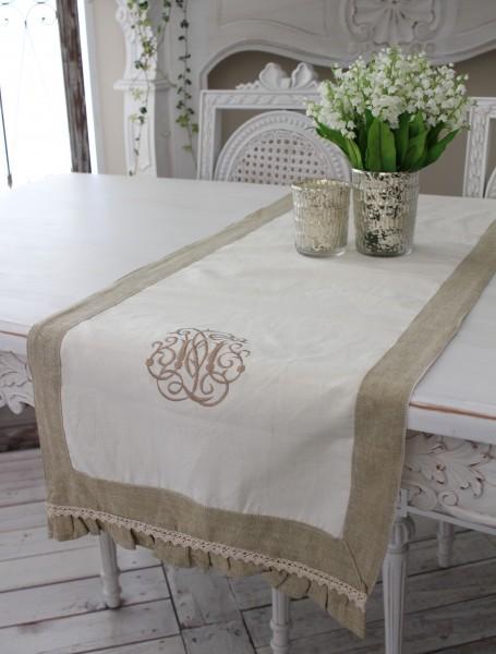フランスから届くフレンチリネン オフホワイト×ベージュモノグラム刺繍 【Blanc de Paris】 テーブルセンター モノグラム刺繍 シ