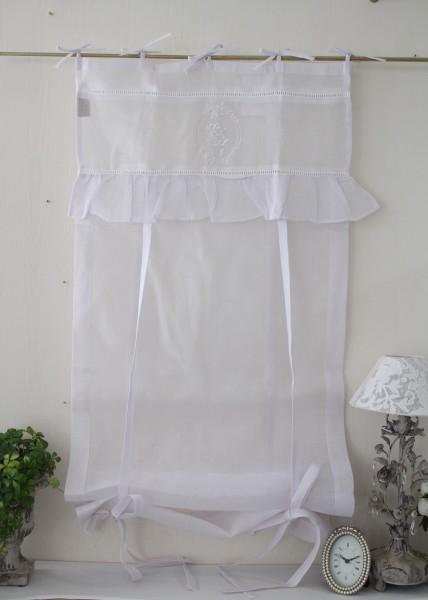フランスから届くフレンチリネン(ウィンドウカーテン60×160・ホワイト×ホワイトフリル) 【Blanc de Paris】 リボン調整