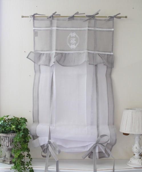 フランスから届くフレンチリネン(ウィンドウカーテン60×160・ホワイト×グレーフレーム) 【Blanc de Paris】 リボン調整