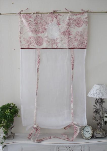 Blanc de Paris リボン調整 カフェカーテン のれん モノグラム刺繍 シャビーシック アンティーク風 フレンチカントリー フランス