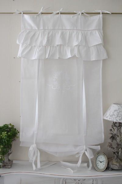 フランスから届くフレンチリネン(ウィンドウカーテン60×160・ホワイト×ホワイト2段フリル) 【Blanc de Paris】 リボン