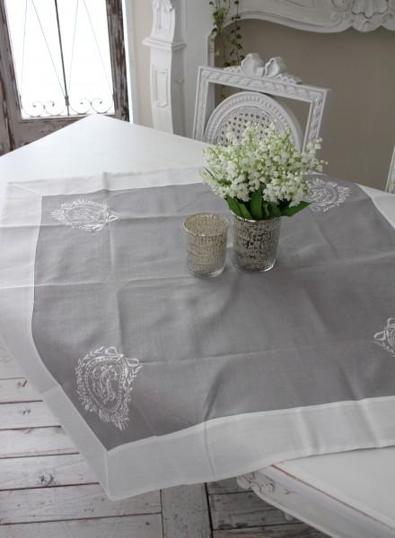 テーブルクロス 85cm角 グレー×ホワイトリボン刺繍【Blanc de Paris】トップクロス モノグラム刺繍 シャビーシック アンティーク