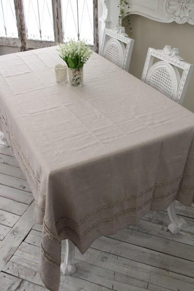 フランスから届くフレンチリネン テーブルクロス 150×250cm(リネンベージュ) 【Blanc de Paris】 トップクロス テーブルクロ