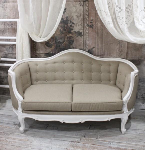 【アウトレット品】ハンドメイドのフランス家具 ソファ2人掛け(ホワイト×ベージュ) 【Blanc de Paris】 アンティーク 家具 ソ