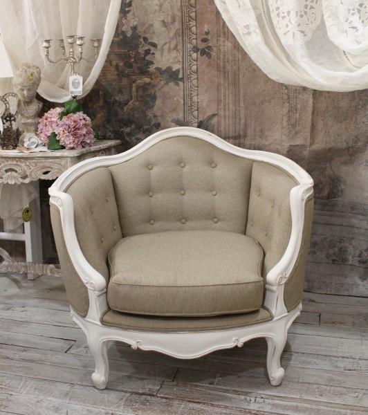 【アウトレット】ハンドメイドのフランス家具 ソファ1人掛け ホワイト×ベージュ アンティーク ソファ シャビーシック アンティ