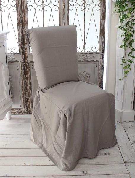 フランスから届くフレンチリネン チェアカバー リネングレー 椅子カバー 麻 シャビーシック アンティーク風 フレンチカントリー