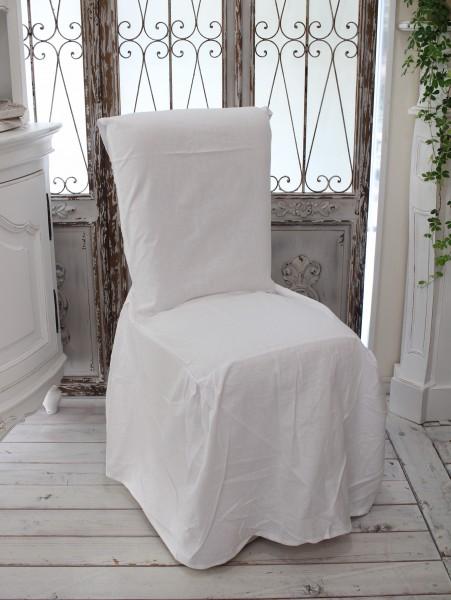 フランスから届 フレンチリネン チェアカバー コットンホワイト 椅子カバー 綿 シャビーシック アンティーク風 フレンチカントリ
